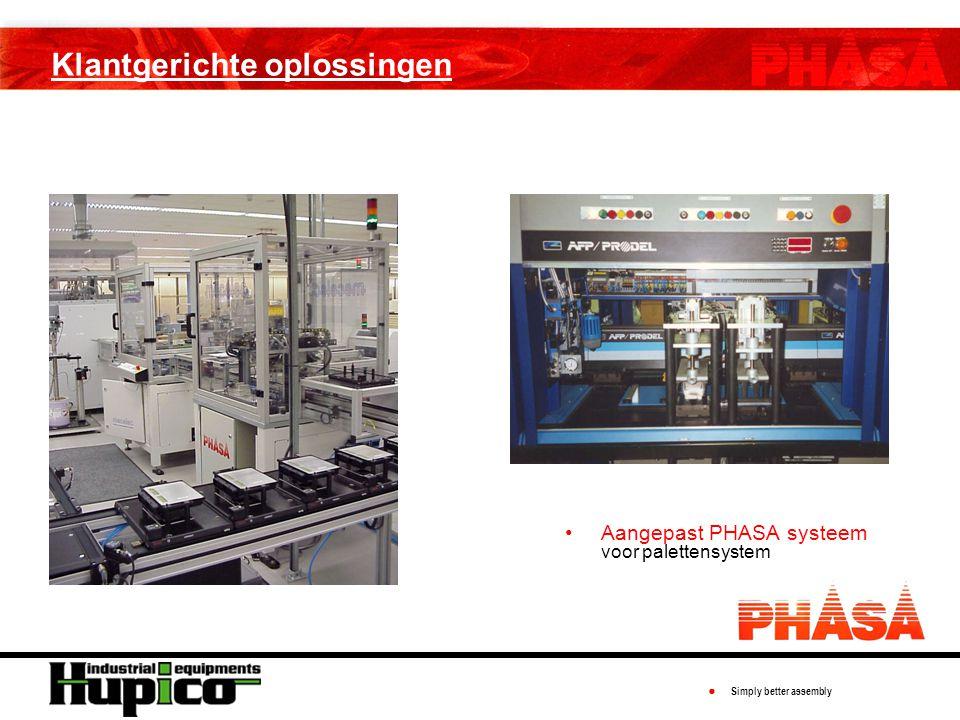 ● Simply better assembly Aangepast PHASA systeem voor palettensystem Klantgerichte oplossingen