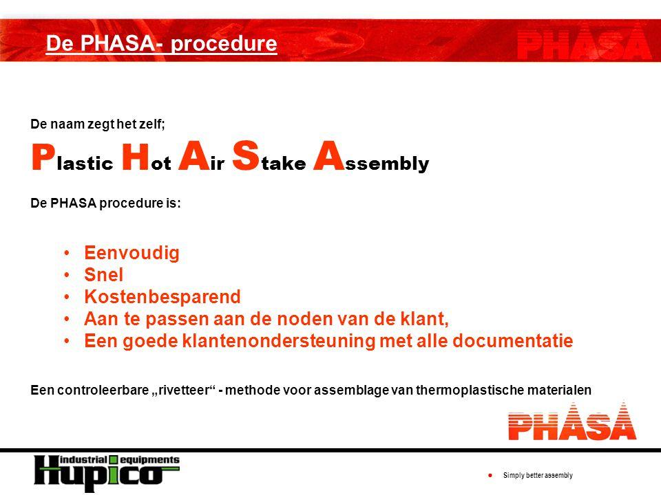"""● Simply better assembly De PHASA- procedure De naam zegt het zelf; P lastic H ot A ir S take A ssembly De PHASA procedure is: Eenvoudig Snel Kostenbesparend Aan te passen aan de noden van de klant, Een goede klantenondersteuning met alle documentatie Een controleerbare """"rivetteer - methode voor assemblage van thermoplastische materialen"""