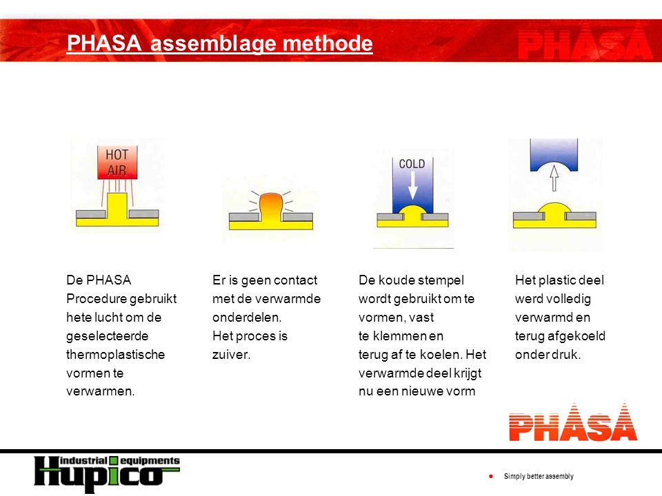● Simply better assembly PHASA assemblage methode De PHASA Procedure gebruikt hete lucht om de geselecteerde thermoplastische vormen te verwarmen.
