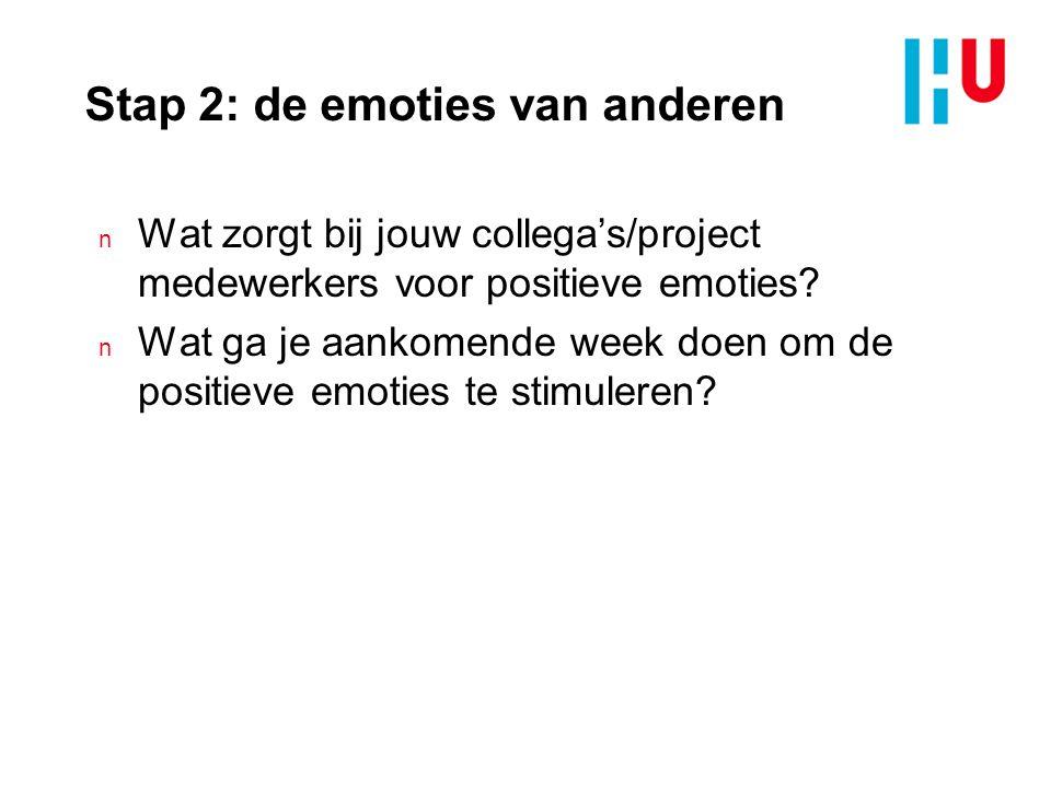 Stap 2: de emoties van anderen n Wat zorgt bij jouw collega's/project medewerkers voor positieve emoties.