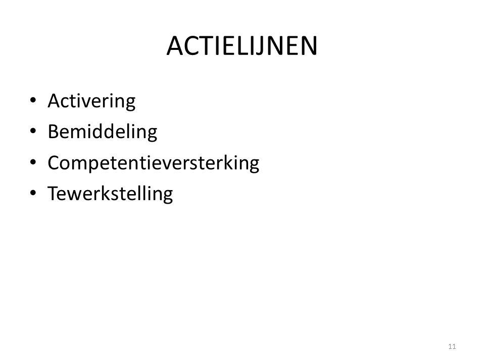 ACTIELIJNEN Activering Bemiddeling Competentieversterking Tewerkstelling 11