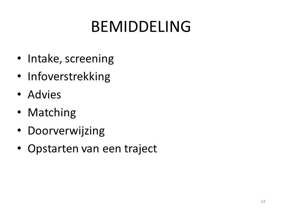 BEMIDDELING Intake, screening Infoverstrekking Advies Matching Doorverwijzing Opstarten van een traject 14