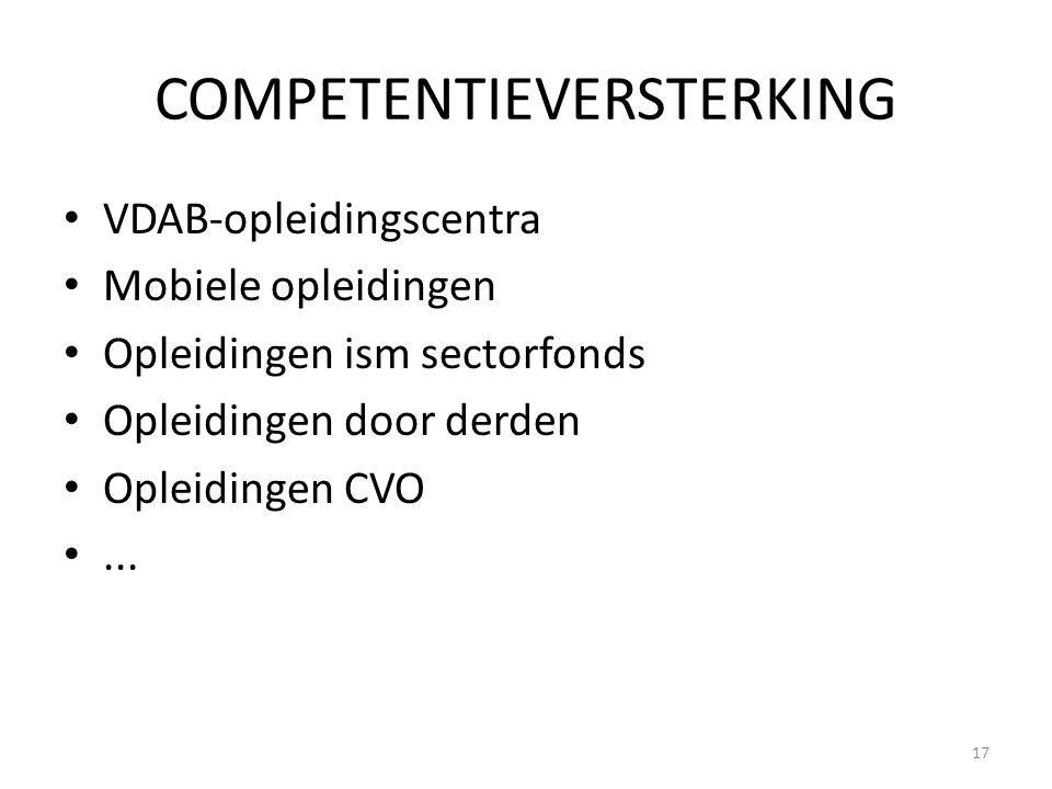 COMPETENTIEVERSTERKING VDAB-opleidingscentra Mobiele opleidingen Opleidingen ism sectorfonds Opleidingen door derden Opleidingen CVO... 17