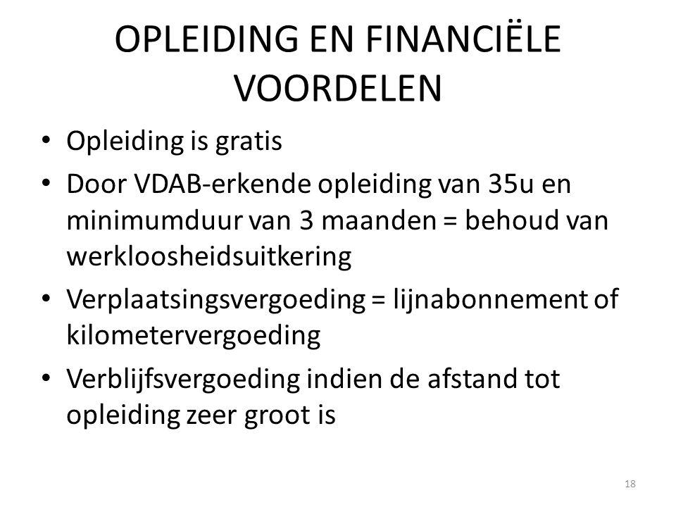 OPLEIDING EN FINANCIËLE VOORDELEN Opleiding is gratis Door VDAB-erkende opleiding van 35u en minimumduur van 3 maanden = behoud van werkloosheidsuitke