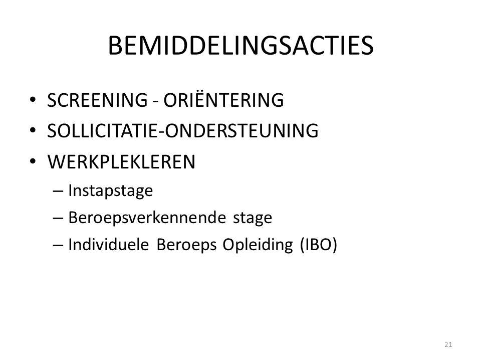 BEMIDDELINGSACTIES SCREENING - ORIËNTERING SOLLICITATIE-ONDERSTEUNING WERKPLEKLEREN – Instapstage – Beroepsverkennende stage – Individuele Beroeps Opl