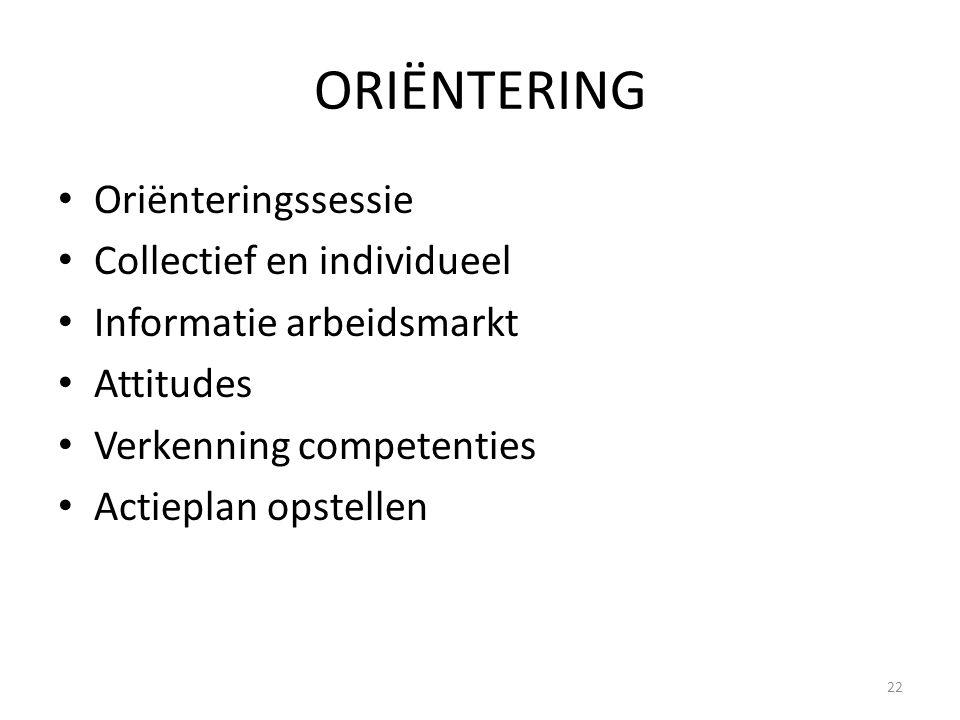 ORIËNTERING Oriënteringssessie Collectief en individueel Informatie arbeidsmarkt Attitudes Verkenning competenties Actieplan opstellen 22