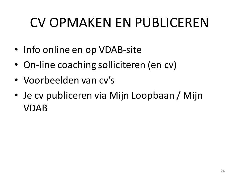 CV OPMAKEN EN PUBLICEREN Info online en op VDAB-site On-line coaching solliciteren (en cv) Voorbeelden van cv's Je cv publiceren via Mijn Loopbaan / M