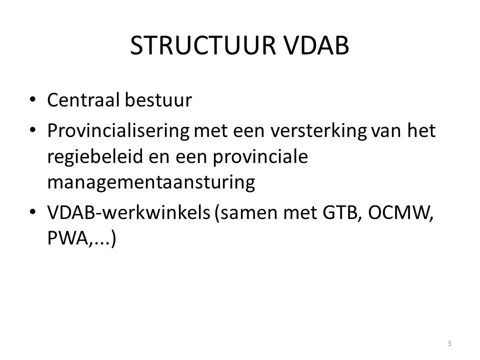 STRUCTUUR VDAB Centraal bestuur Provincialisering met een versterking van het regiebeleid en een provinciale managementaansturing VDAB-werkwinkels (sa
