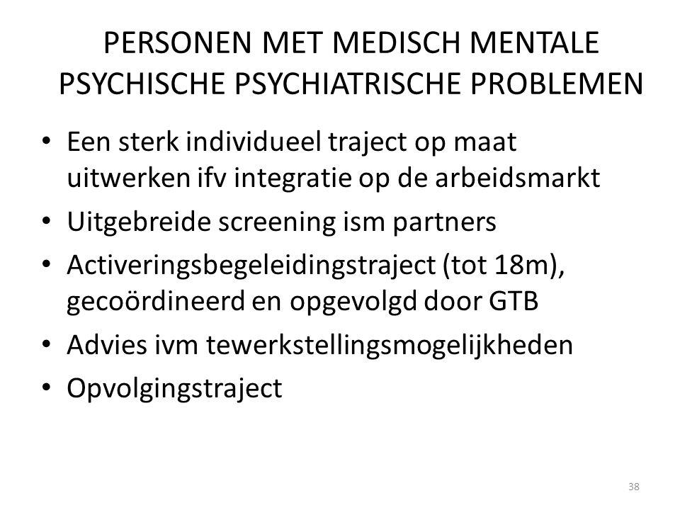 PERSONEN MET MEDISCH MENTALE PSYCHISCHE PSYCHIATRISCHE PROBLEMEN Een sterk individueel traject op maat uitwerken ifv integratie op de arbeidsmarkt Uit