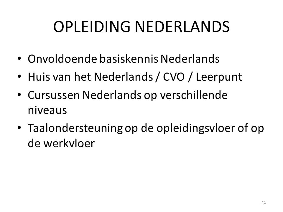 OPLEIDING NEDERLANDS Onvoldoende basiskennis Nederlands Huis van het Nederlands / CVO / Leerpunt Cursussen Nederlands op verschillende niveaus Taalond