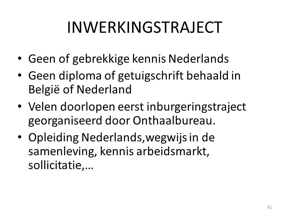 INWERKINGSTRAJECT Geen of gebrekkige kennis Nederlands Geen diploma of getuigschrift behaald in België of Nederland Velen doorlopen eerst inburgerings