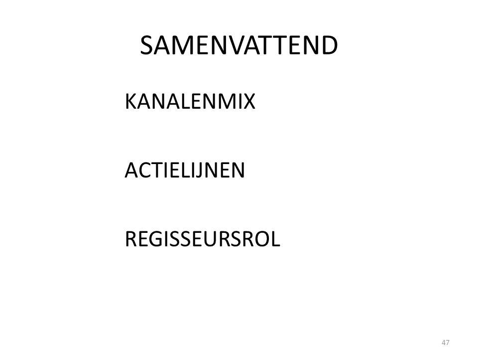 SAMENVATTEND KANALENMIX ACTIELIJNEN REGISSEURSROL 47