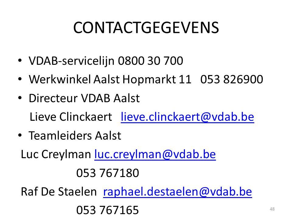 CONTACTGEGEVENS VDAB-servicelijn 0800 30 700 Werkwinkel Aalst Hopmarkt 11 053 826900 Directeur VDAB Aalst Lieve Clinckaert lieve.clinckaert@vdab.belie