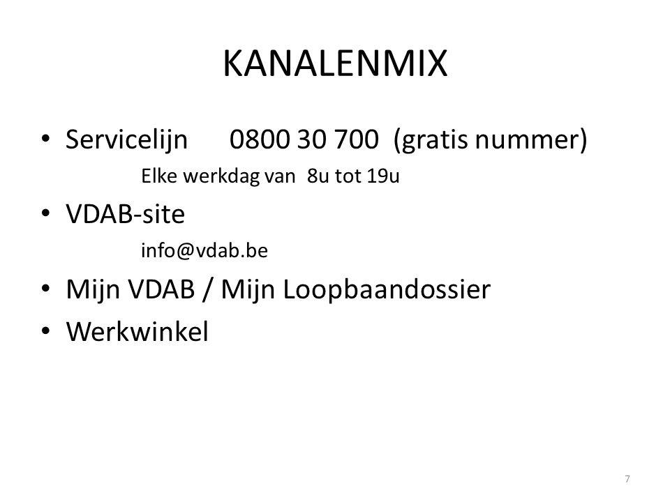 KANALENMIX Servicelijn 0800 30 700 (gratis nummer) Elke werkdag van 8u tot 19u VDAB-site info@vdab.be Mijn VDAB / Mijn Loopbaandossier Werkwinkel 7