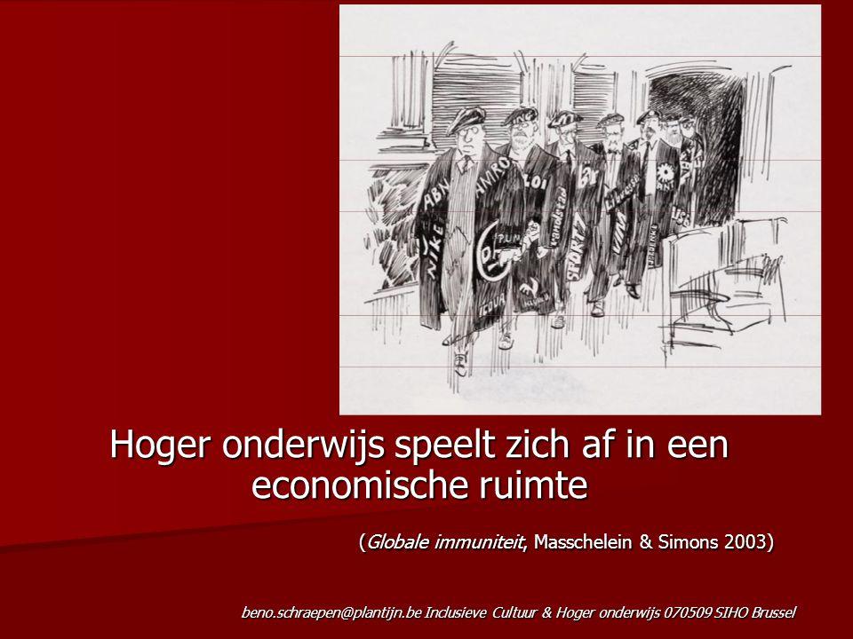 beno.schraepen@plantijn.be Inclusieve Cultuur & Hoger onderwijs 070509 SIHO Brussel Hoger onderwijs speelt zich af in een economische ruimte (Globale immuniteit, Masschelein & Simons 2003)