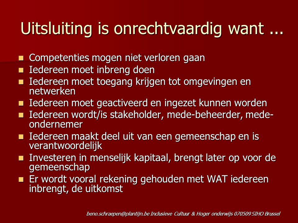 beno.schraepen@plantijn.be Inclusieve Cultuur & Hoger onderwijs 070509 SIHO Brussel Uitsluiting is onrechtvaardig want... Competenties mogen niet verl