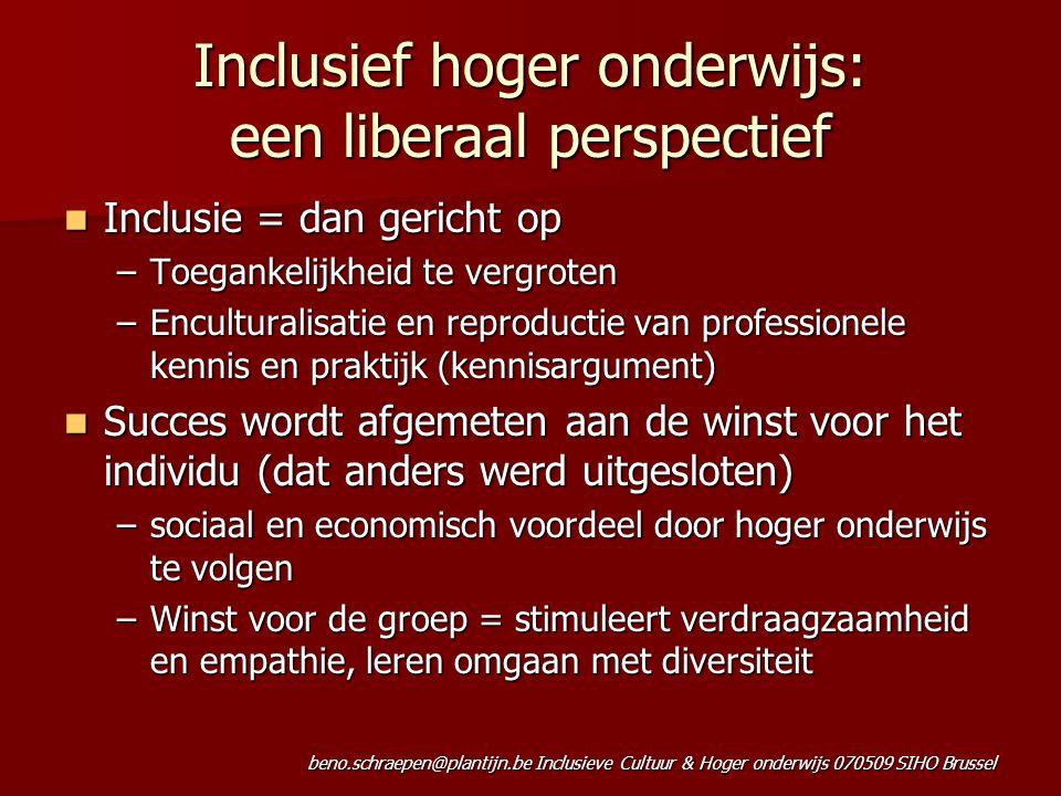 beno.schraepen@plantijn.be Inclusieve Cultuur & Hoger onderwijs 070509 SIHO Brussel Inclusief hoger onderwijs: een liberaal perspectief Inclusie = dan