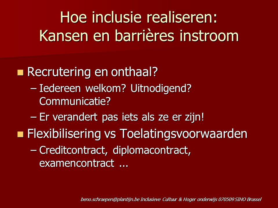 beno.schraepen@plantijn.be Inclusieve Cultuur & Hoger onderwijs 070509 SIHO Brussel Hoe inclusie realiseren: Kansen en barrières instroom Recrutering en onthaal.