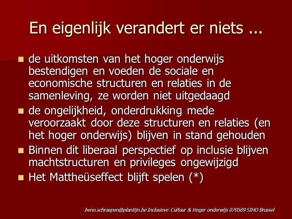 beno.schraepen@plantijn.be Inclusieve Cultuur & Hoger onderwijs 070509 SIHO Brussel En eigenlijk verandert er niets... de uitkomsten van het hoger ond