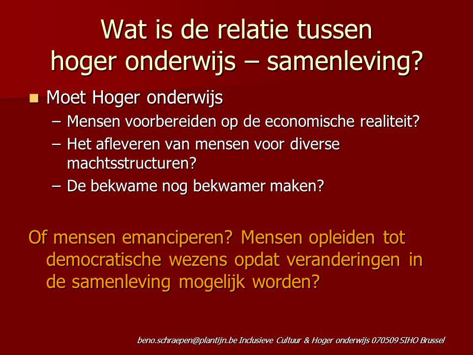 beno.schraepen@plantijn.be Inclusieve Cultuur & Hoger onderwijs 070509 SIHO Brussel Wat is de relatie tussen hoger onderwijs – samenleving? Moet Hoger