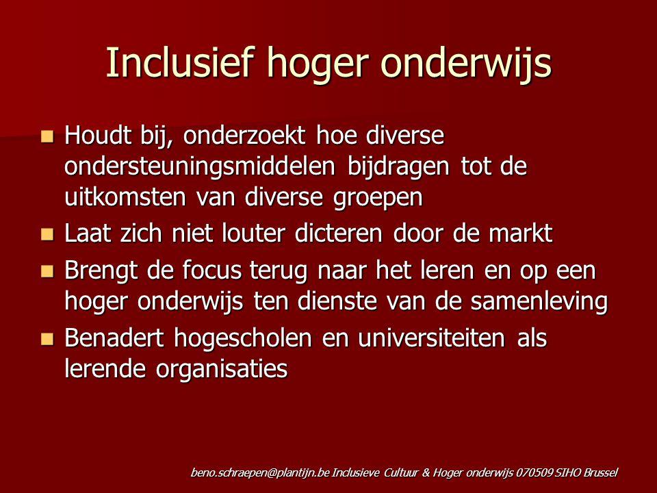 beno.schraepen@plantijn.be Inclusieve Cultuur & Hoger onderwijs 070509 SIHO Brussel Inclusief hoger onderwijs Houdt bij, onderzoekt hoe diverse onders