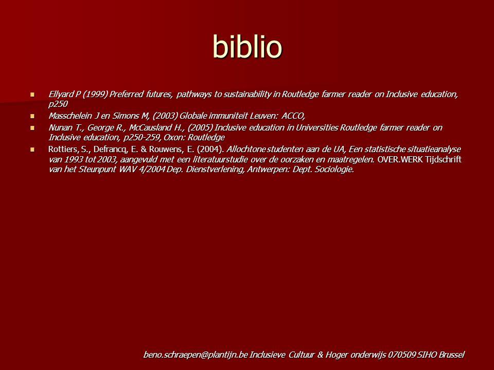 beno.schraepen@plantijn.be Inclusieve Cultuur & Hoger onderwijs 070509 SIHO Brussel biblio Ellyard P (1999) Preferred futures, pathways to sustainabil