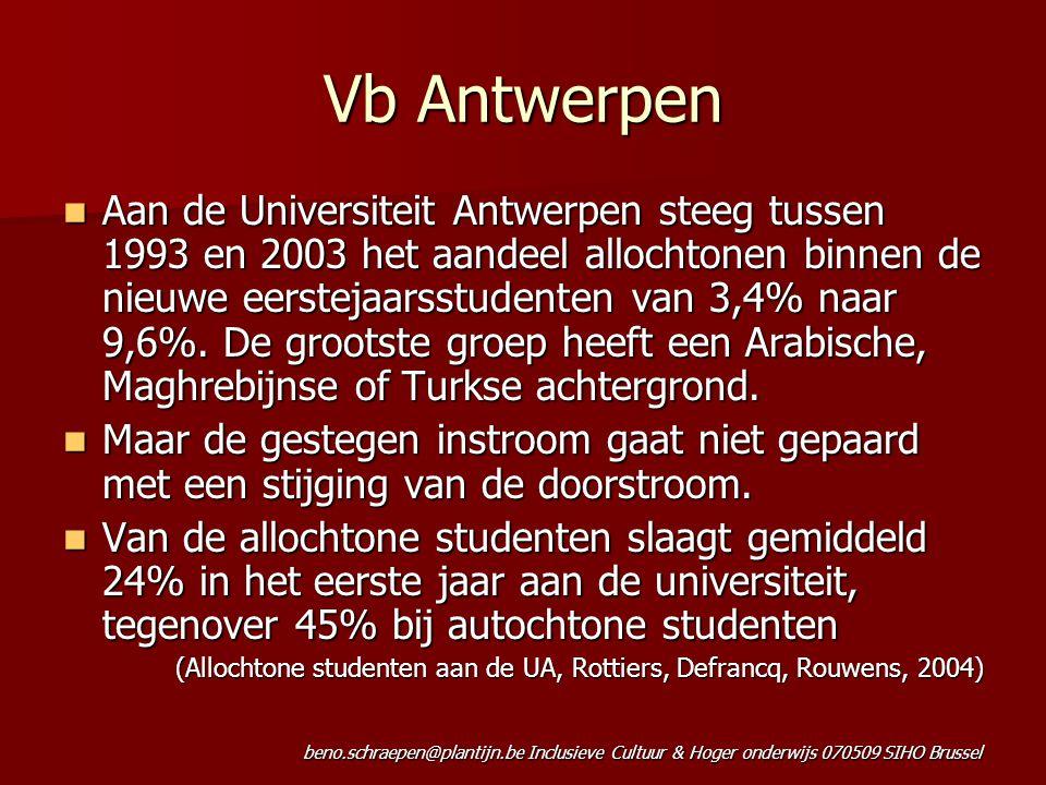 beno.schraepen@plantijn.be Inclusieve Cultuur & Hoger onderwijs 070509 SIHO Brussel Vb Antwerpen Aan de Universiteit Antwerpen steeg tussen 1993 en 2003 het aandeel allochtonen binnen de nieuwe eerstejaarsstudenten van 3,4% naar 9,6%.