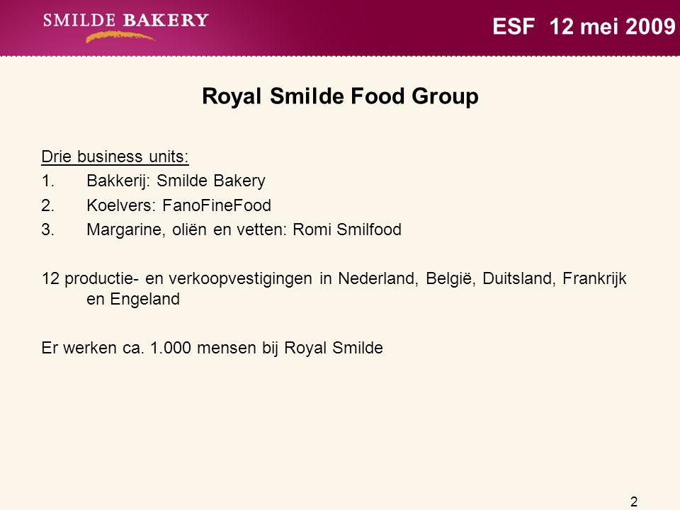 2 ESF 12 mei 2009 Royal Smilde Food Group Drie business units: 1.Bakkerij: Smilde Bakery 2.Koelvers: FanoFineFood 3.Margarine, oliën en vetten: Romi S