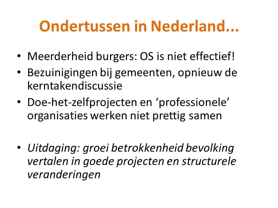 Ondertussen in Nederland... Meerderheid burgers: OS is niet effectief! Bezuinigingen bij gemeenten, opnieuw de kerntakendiscussie Doe-het-zelfprojecte