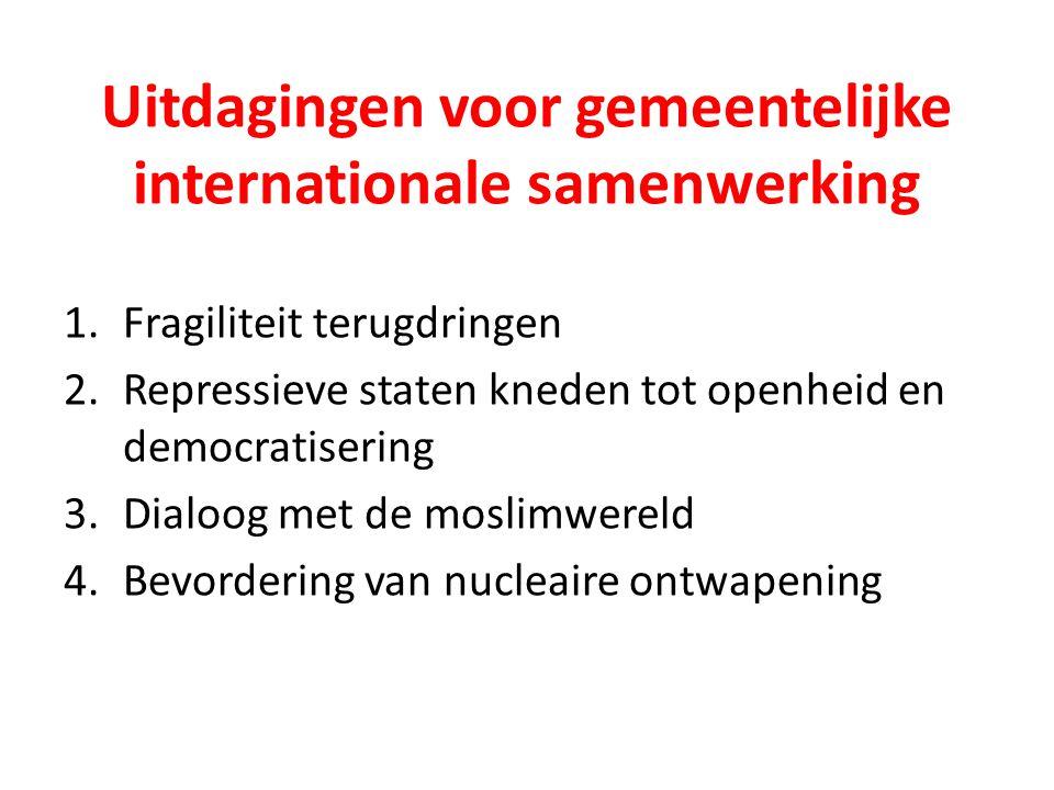 Uitdagingen voor gemeentelijke internationale samenwerking 1.Fragiliteit terugdringen 2.Repressieve staten kneden tot openheid en democratisering 3.Di