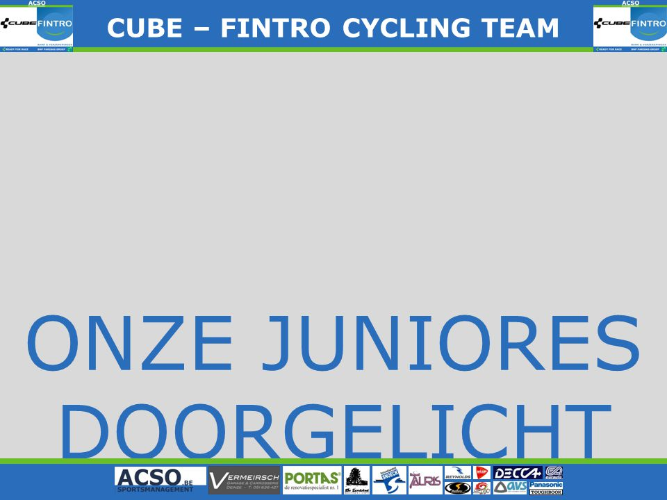 ONZE JUNIORES DOORGELICHT CUBE – FINTRO CYLING TEAM CUBE – FINTRO CYCLING TEAM