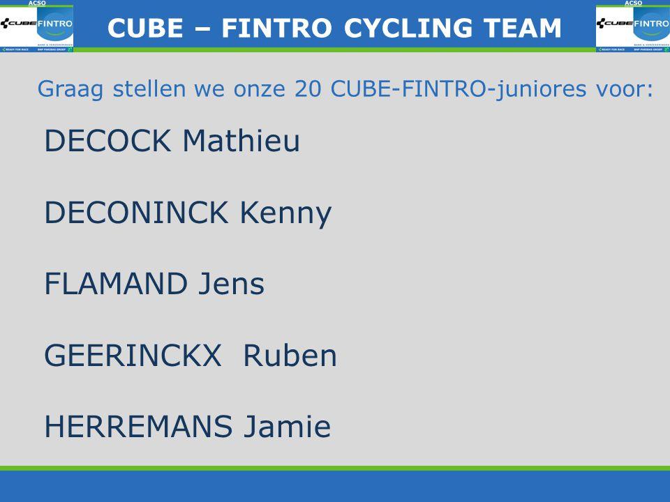 Graag stellen we onze 20 CUBE-FINTRO-juniores voor: DECOCK Mathieu DECONINCK Kenny FLAMAND Jens GEERINCKX Ruben HERREMANS Jamie CUBE – FINTRO CYLING T
