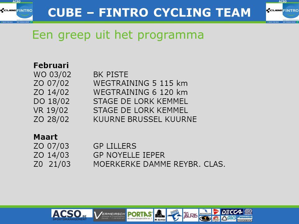 CUBE – FINTRO CYLING TEAM CUBE – FINTRO CYCLING TEAM Een greep uit het programma Februari WO 03/02BK PISTE ZO 07/02WEGTRAINING 5 115 km ZO 14/02WEGTRA