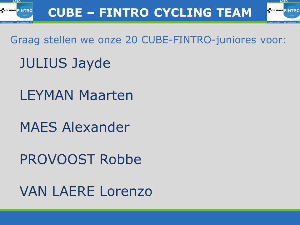CUBE – FINTRO CYLING TEAM CUBE – FINTRO CYCLING TEAM De fietsen