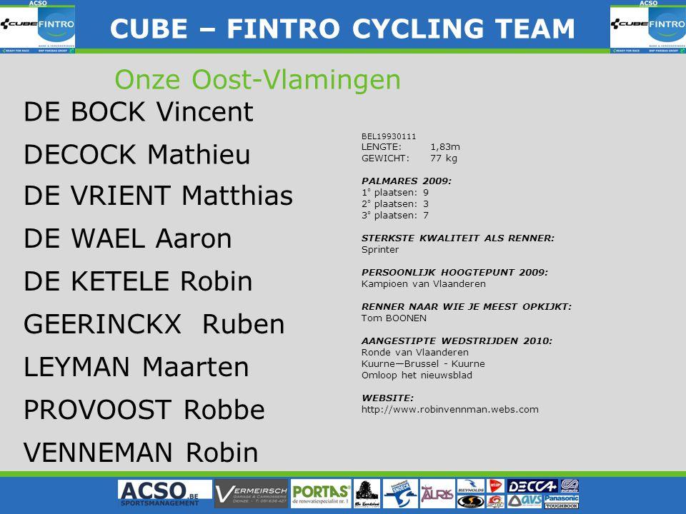 BEL19930111 LENGTE: 1,83m GEWICHT: 77 kg PALMARES 2009: 1° plaatsen: 9 2° plaatsen: 3 3° plaatsen: 7 STERKSTE KWALITEIT ALS RENNER: Sprinter PERSOONLIJK HOOGTEPUNT 2009: Kampioen van Vlaanderen RENNER NAAR WIE JE MEEST OPKIJKT: Tom BOONEN AANGESTIPTE WEDSTRIJDEN 2010: Ronde van Vlaanderen Kuurne—Brussel - Kuurne Omloop het nieuwsblad WEBSITE: http://www.robinvennman.webs.com CUBE – FINTRO CYLING TEAM CUBE – FINTRO CYCLING TEAM Onze Oost-Vlamingen DE BOCK Vincent DE VRIENT Matthias DE WAEL Aaron DE KETELE Robin GEERINCKX Ruben LEYMAN Maarten PROVOOST Robbe VENNEMAN Robin DECOCK Mathieu