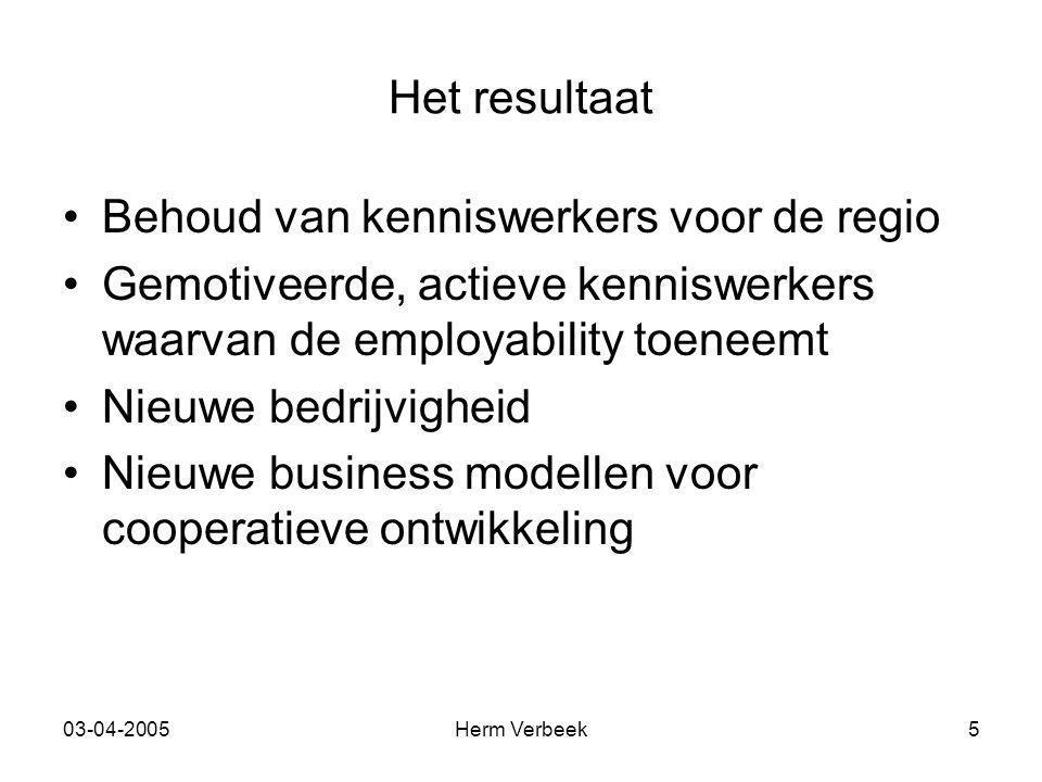 03-04-2005Herm Verbeek5 Het resultaat Behoud van kenniswerkers voor de regio Gemotiveerde, actieve kenniswerkers waarvan de employability toeneemt Nie