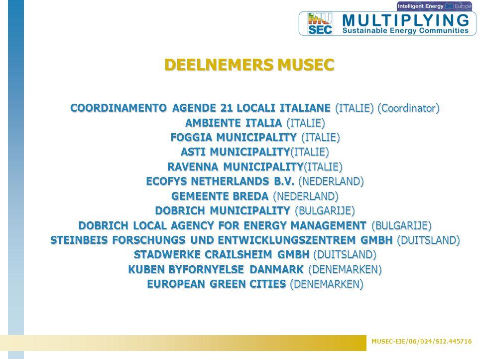 MUSEC-EIE/06/024/SI2.445716 13 partners uit 5 landen (Italie, Nederland, Duitsland, Bulgarije, Denemarken) Steden: Asti, Foggia, Ravenna (I) Crailsheim (DE) Breda (NL) Valby(DK) Dobrich (BG) Adviesbureaus: Ambiente Italia (I) STW Crailsheim, SFZ Solites (DE) European Green Cities, Kuben (DK) Ecofys (NL) DLAEM (BG) Coordinator