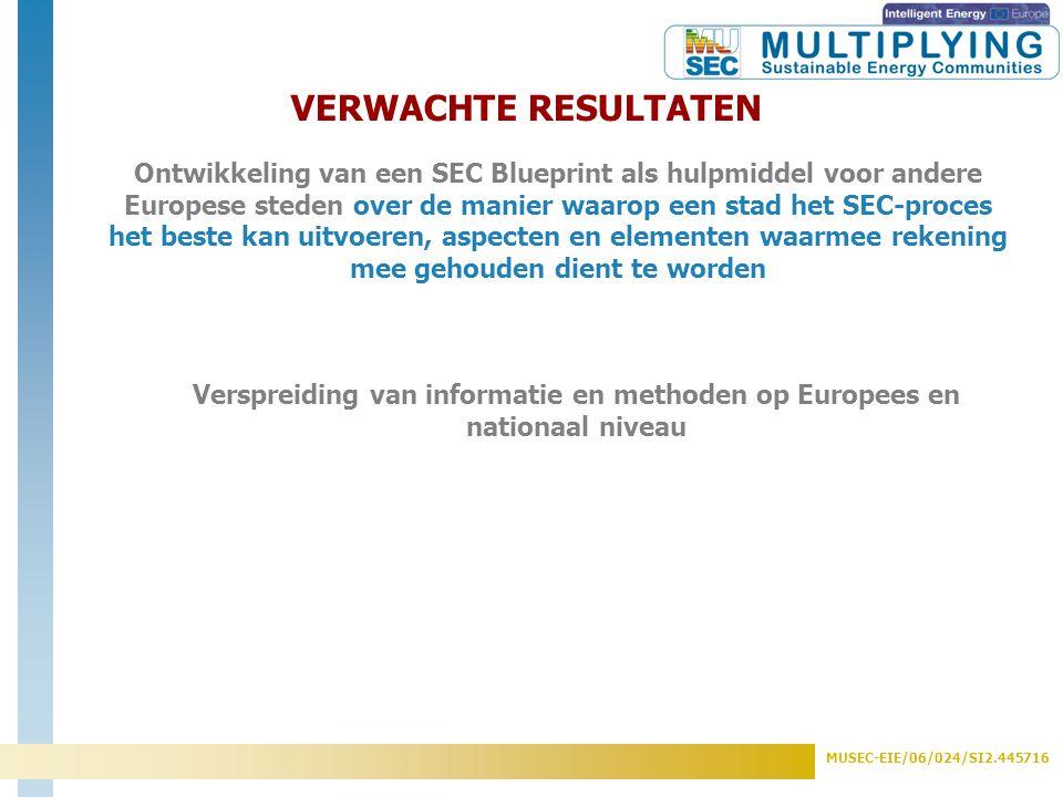 MUSEC-EIE/06/024/SI2.445716 VERWACHTE RESULTATEN Verspreiding van informatie en methoden op Europees en nationaal niveau Ontwikkeling van een SEC Blue