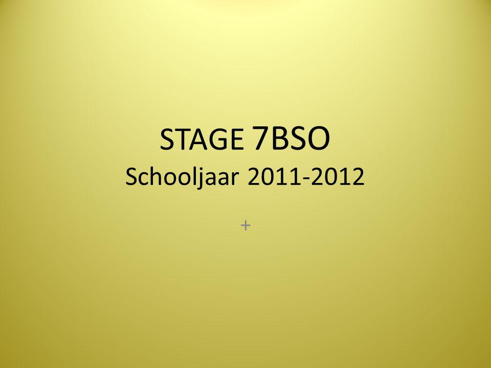 STAGE 7BSO Schooljaar 2011-2012 +
