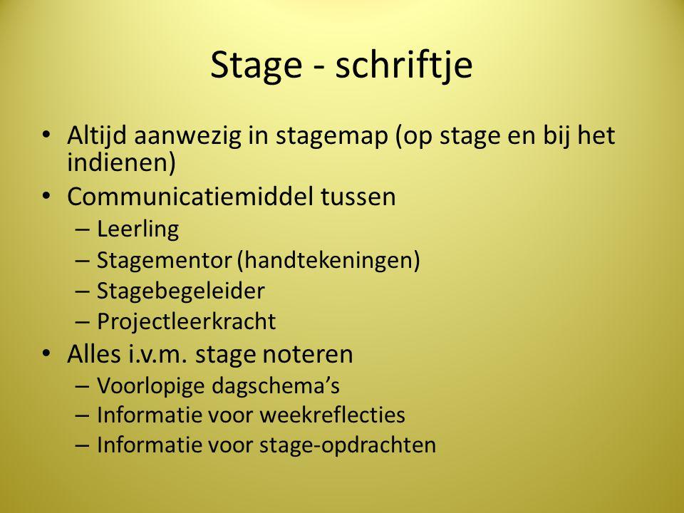 Stage - schriftje Altijd aanwezig in stagemap (op stage en bij het indienen) Communicatiemiddel tussen – Leerling – Stagementor (handtekeningen) – Sta