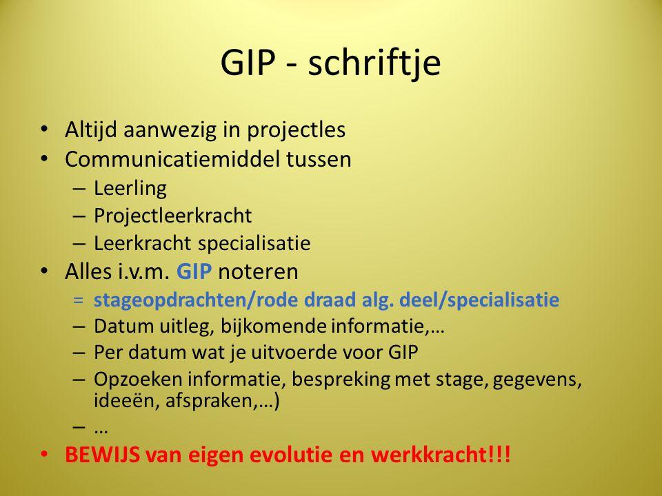 GIP - schriftje Altijd aanwezig in projectles Communicatiemiddel tussen – Leerling – Projectleerkracht – Leerkracht specialisatie Alles i.v.m. GIP not
