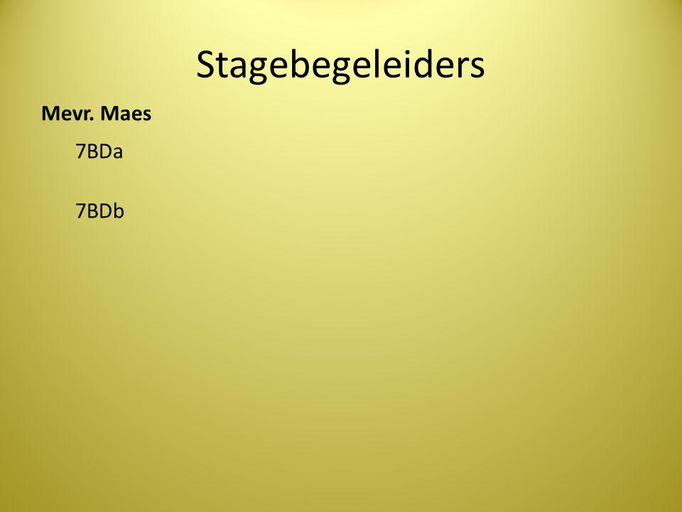 Stagebegeleiders Mevr. Maes 7BDa 7BDb
