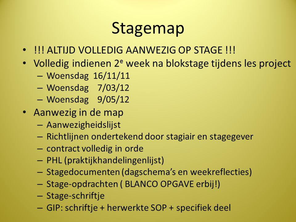 Stagemap !!! ALTIJD VOLLEDIG AANWEZIG OP STAGE !!! Volledig indienen 2 e week na blokstage tijdens les project – Woensdag 16/11/11 – Woensdag 7/03/12
