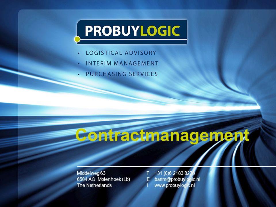 Contractmanagement Middelweg 63 6584 AG Molenhoek (Lb) The Netherlands T+31 (0)6 2183 8278 Ebartm@probuylogic.nl I www.probuylogic.nl