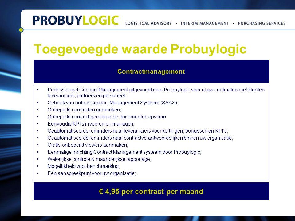 Toegevoegde waarde Probuylogic Professioneel Contract Management uitgevoerd door Probuylogic voor al uw contracten met klanten, leveranciers, partners