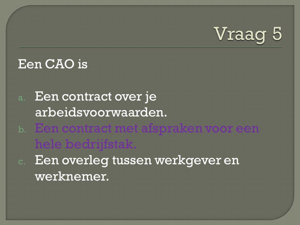 Een CAO is a. Een contract over je arbeidsvoorwaarden. b. Een contract met afspraken voor een hele bedrijfstak. c. Een overleg tussen werkgever en wer