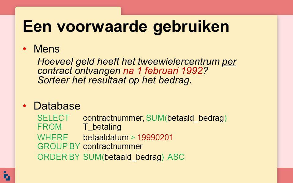 Resultaat contractnummerSUM(betaald_bedrag) 812.5 1012.5 313.0 918.0...