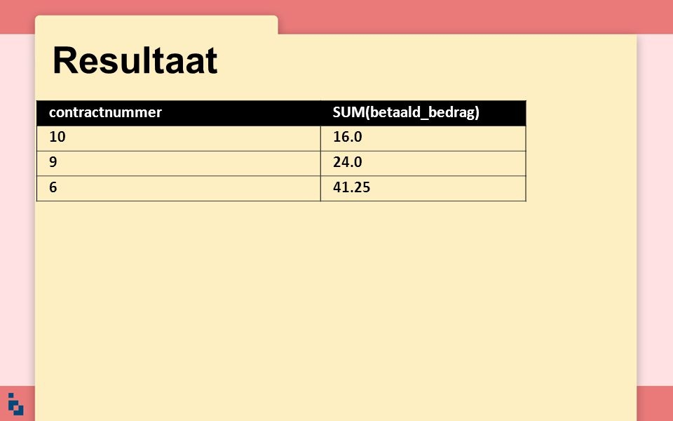 Resultaat contractnummerSUM(betaald_bedrag) 1016.0 924.0 641.25