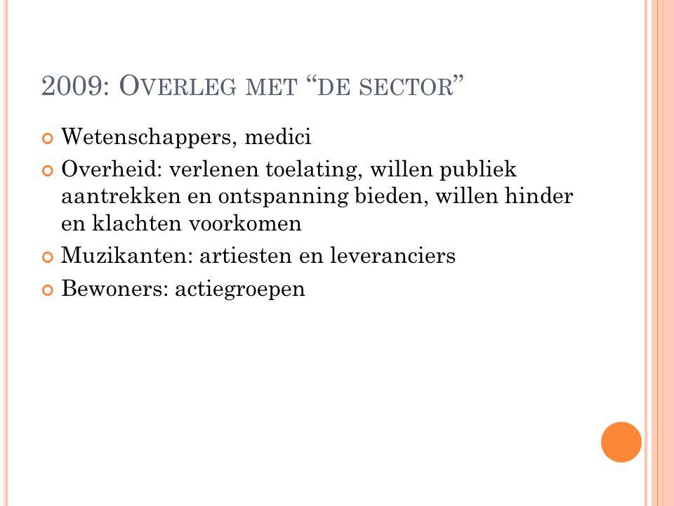 """2009: O VERLEG MET """" DE SECTOR """" Wetenschappers, medici Overheid: verlenen toelating, willen publiek aantrekken en ontspanning bieden, willen hinder e"""