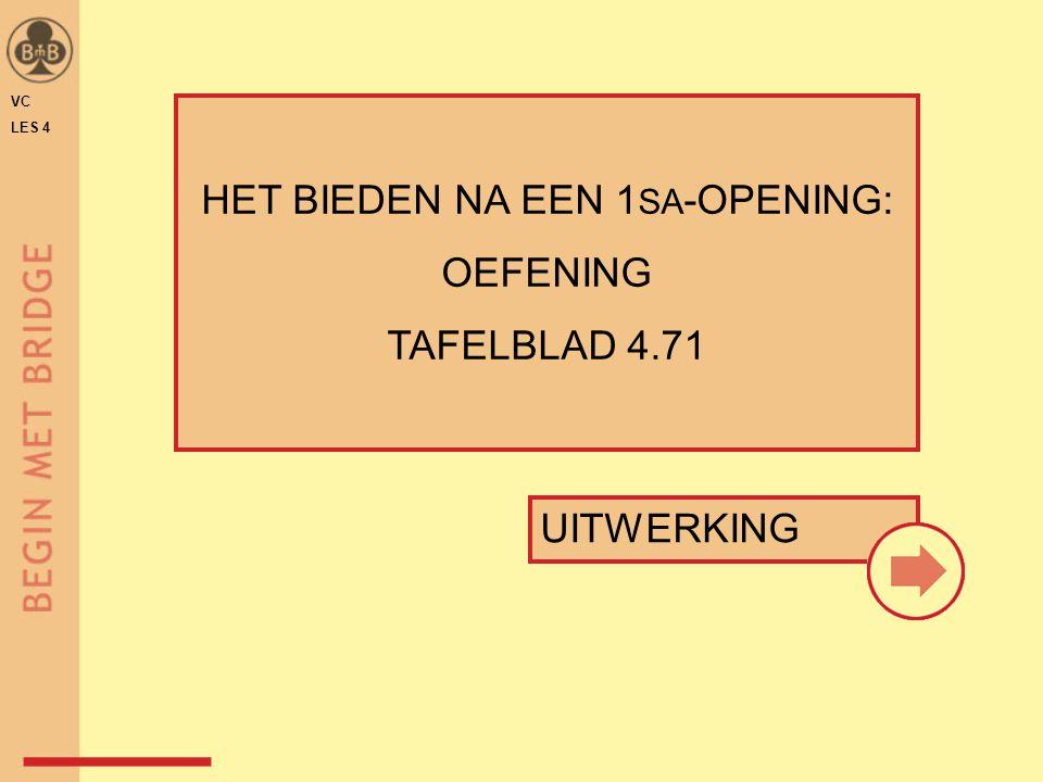 UITWERKING HET BIEDEN NA EEN 1 SA -OPENING: OEFENING TAFELBLAD 4.71 VC LES 4